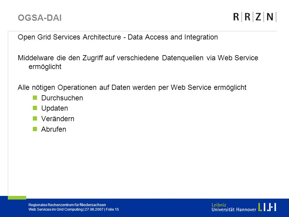 OGSA-DAI Open Grid Services Architecture - Data Access and Integration