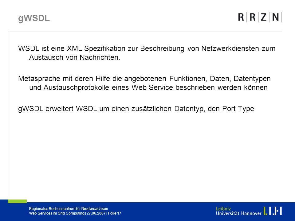 gWSDL WSDL ist eine XML Spezifikation zur Beschreibung von Netzwerkdiensten zum Austausch von Nachrichten.
