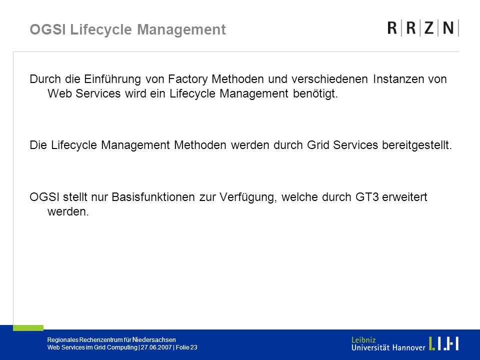 OGSI Lifecycle Management