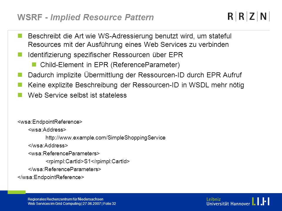 WSRF - Implied Resource Pattern