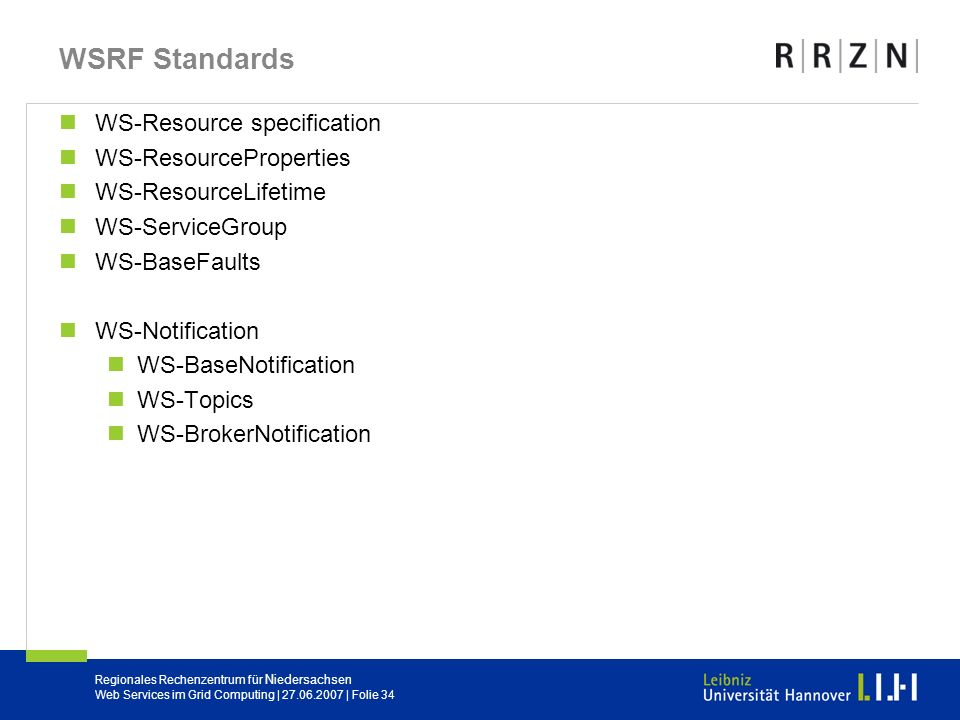 WSRF Standards WS-Resource specification WS-ResourceProperties