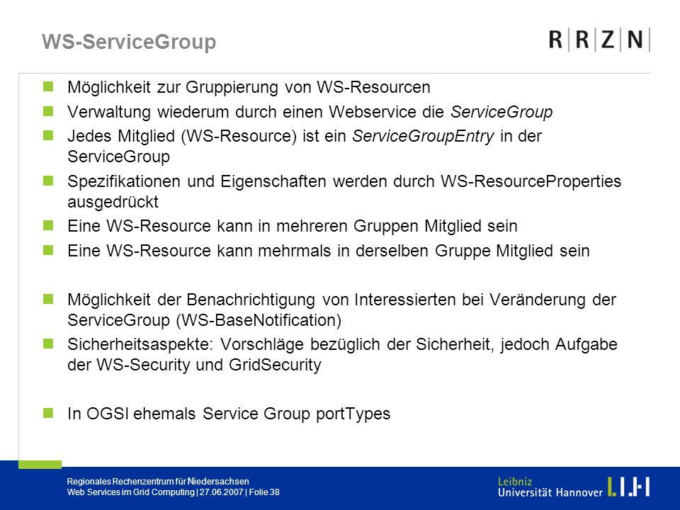 WS-ServiceGroup Möglichkeit zur Gruppierung von WS-Resourcen