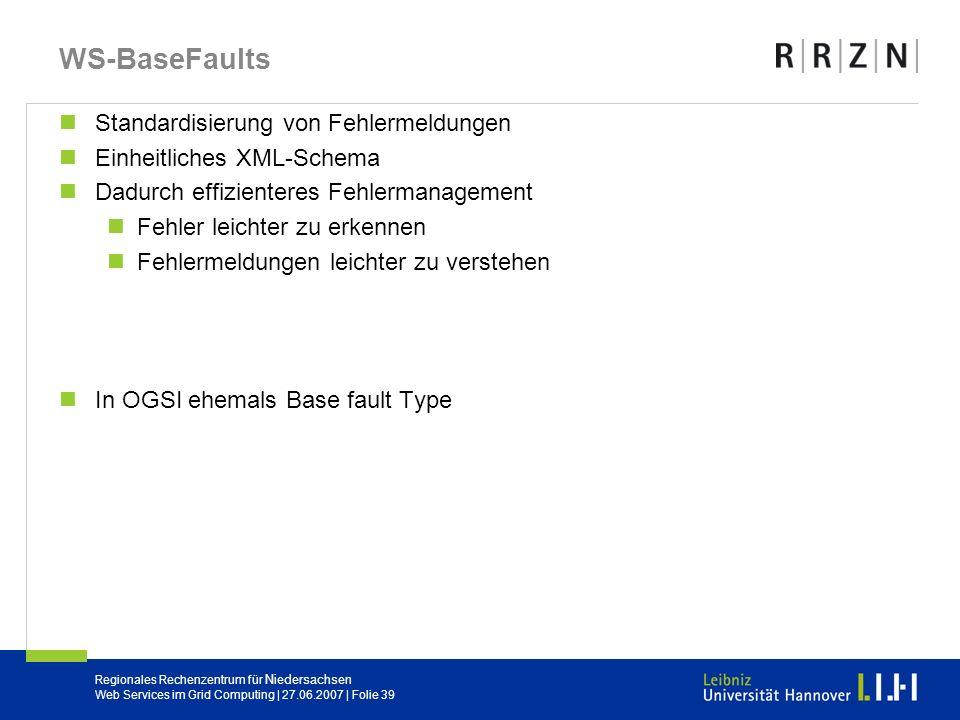 WS-BaseFaults Standardisierung von Fehlermeldungen