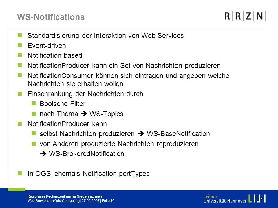 WS-Notifications Standardisierung der Interaktion von Web Services