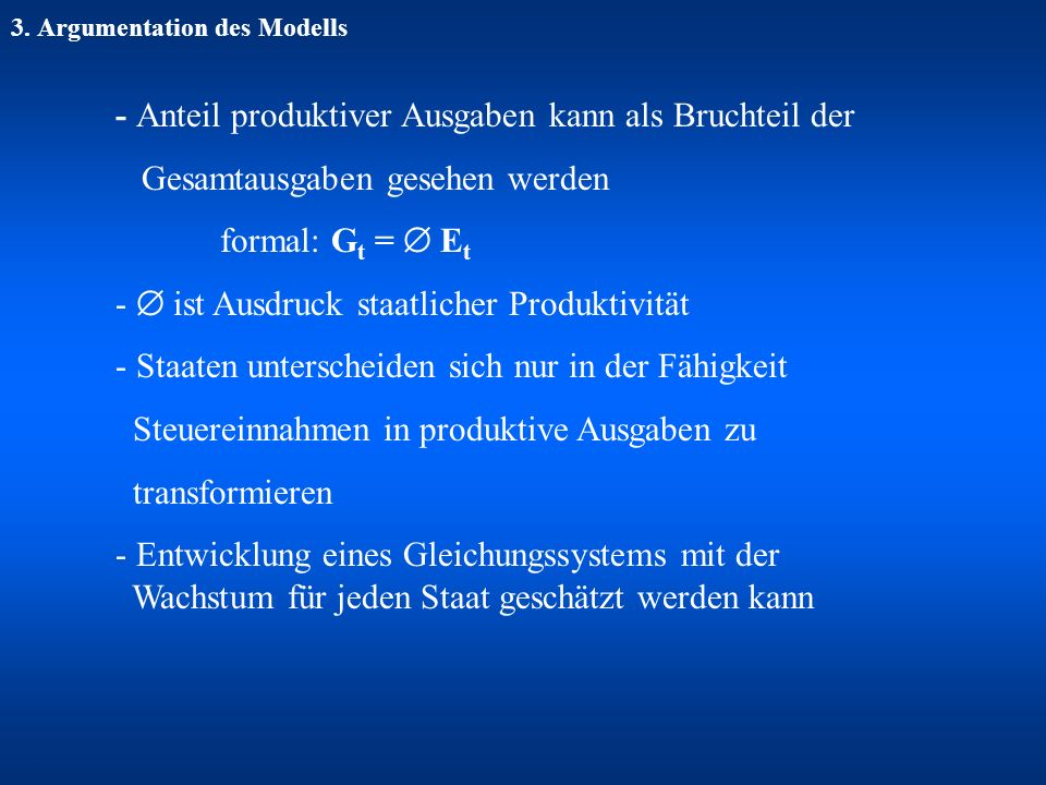 3. Argumentation des Modells