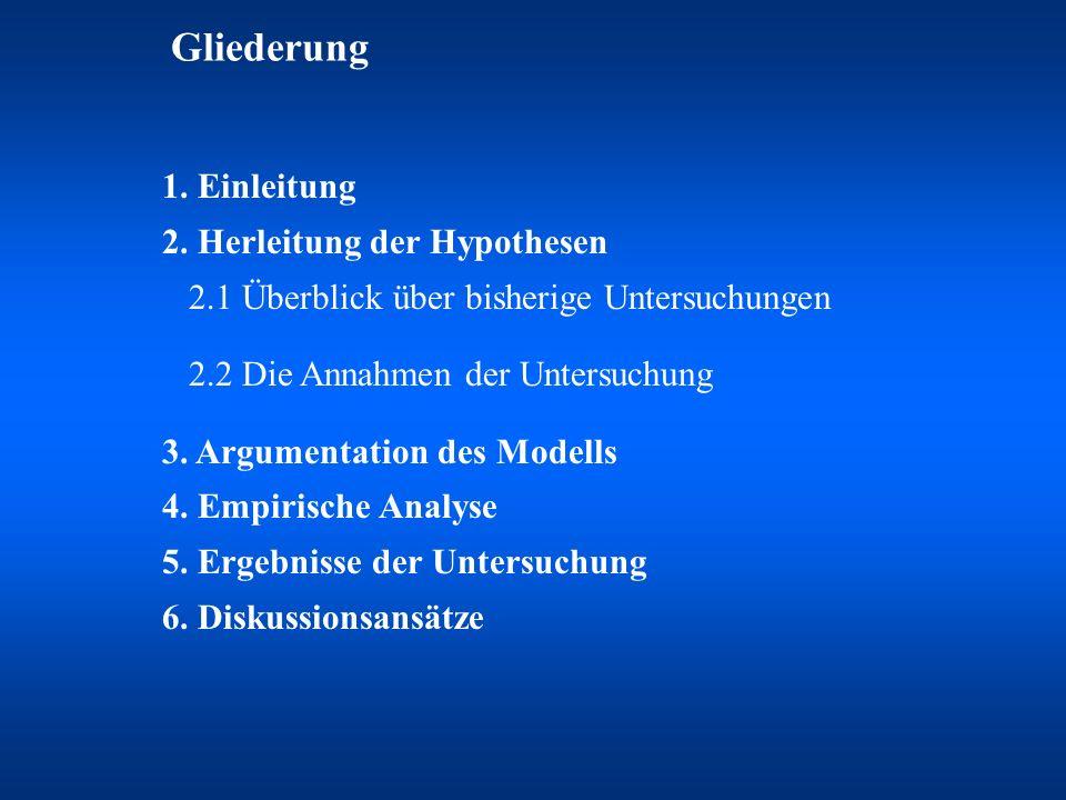 Gliederung 1. Einleitung 2. Herleitung der Hypothesen 2.1 Überblick über bisherige Untersuchungen.