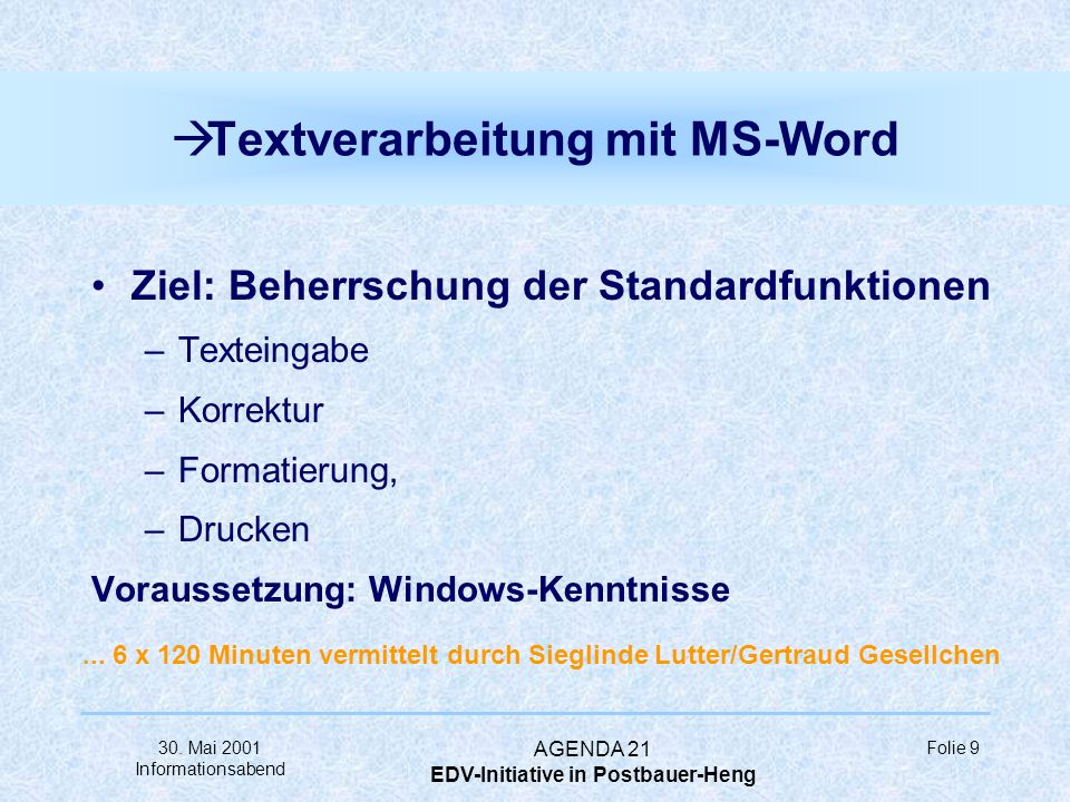 Textverarbeitung mit MS-Word