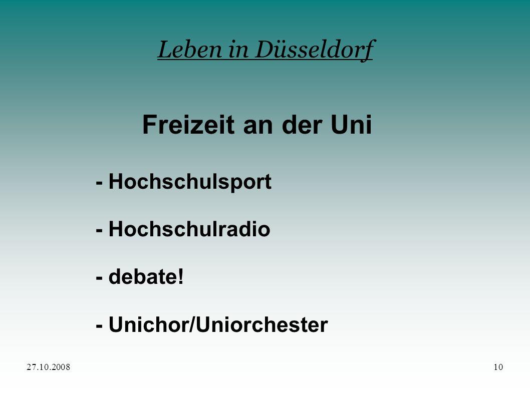Freizeit an der Uni Leben in Düsseldorf - Hochschulsport