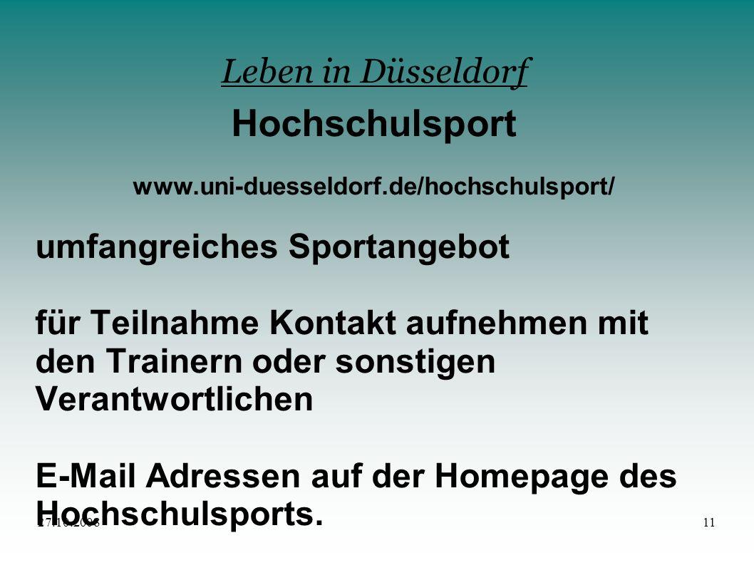 Hochschulsport Leben in Düsseldorf umfangreiches Sportangebot