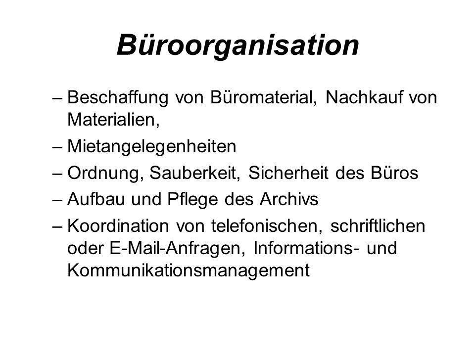 Büroorganisation Beschaffung von Büromaterial, Nachkauf von Materialien, Mietangelegenheiten. Ordnung, Sauberkeit, Sicherheit des Büros.