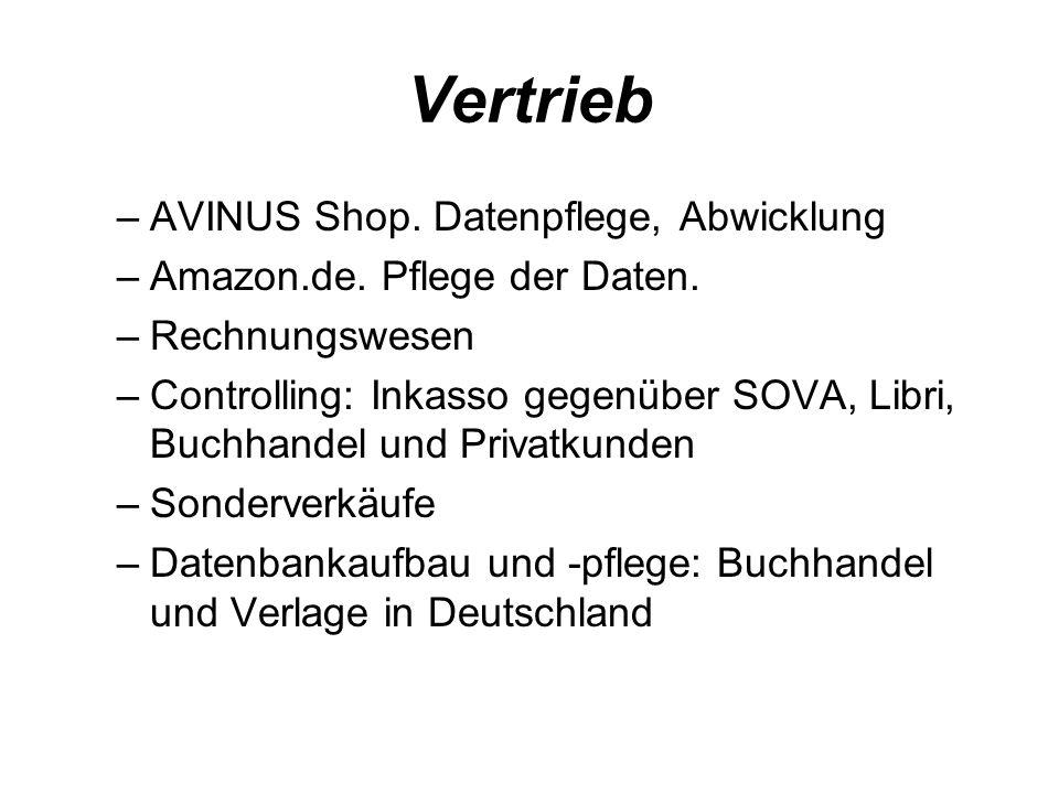 Vertrieb AVINUS Shop. Datenpflege, Abwicklung