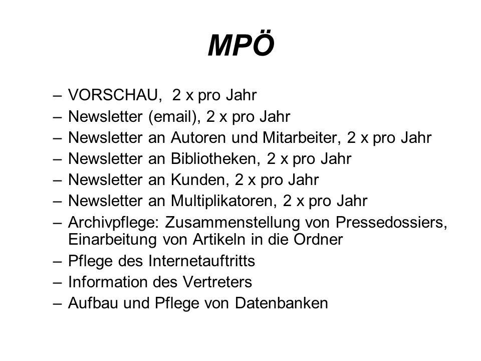 MPÖ VORSCHAU, 2 x pro Jahr Newsletter (email), 2 x pro Jahr
