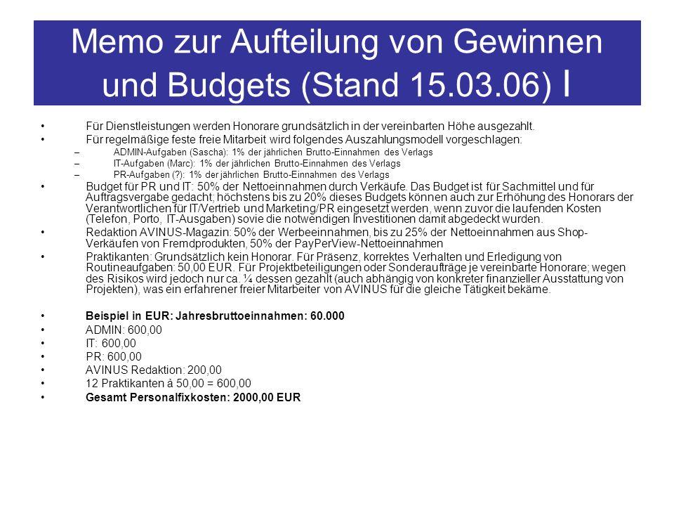Memo zur Aufteilung von Gewinnen und Budgets (Stand 15.03.06) I
