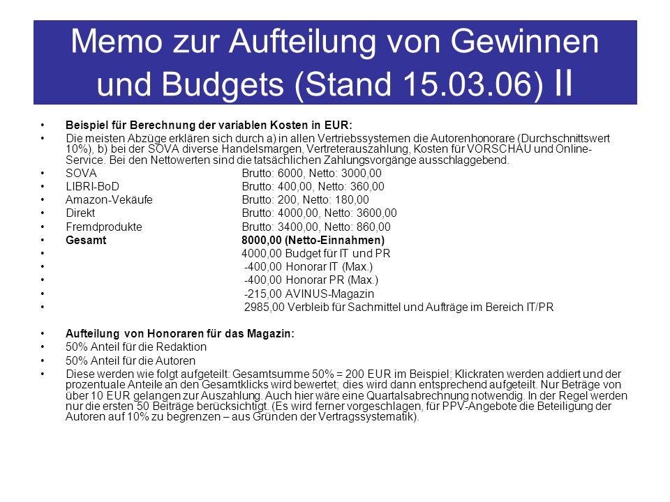 Memo zur Aufteilung von Gewinnen und Budgets (Stand 15.03.06) II