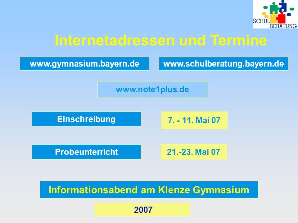 Internetadressen und Termine Informationsabend am Klenze Gymnasium