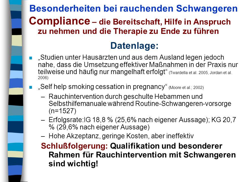 Besonderheiten bei rauchenden Schwangeren