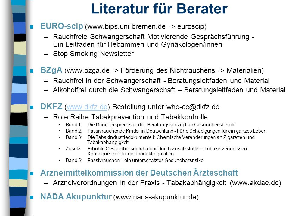 Literatur für BeraterEURO-scip (www.bips.uni-bremen.de -> euroscip)