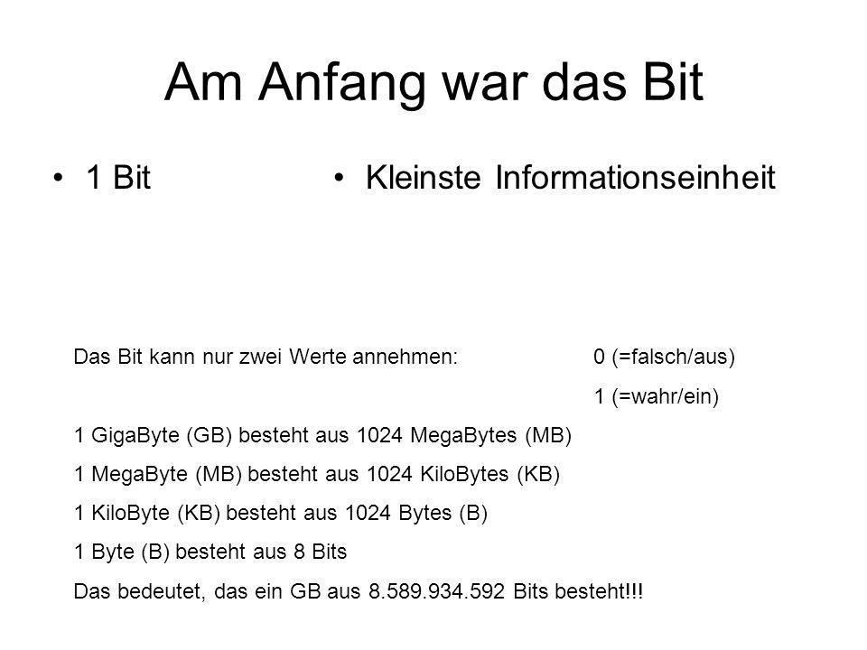 Am Anfang war das Bit 1 Bit Kleinste Informationseinheit