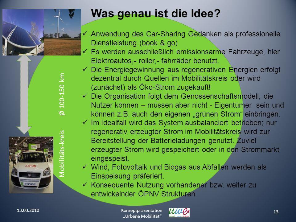 Was genau ist die Idee Mobilitäts-kreis Ø 100-150 km. Anwendung des Car-Sharing Gedanken als professionelle Dienstleistung (book & go)