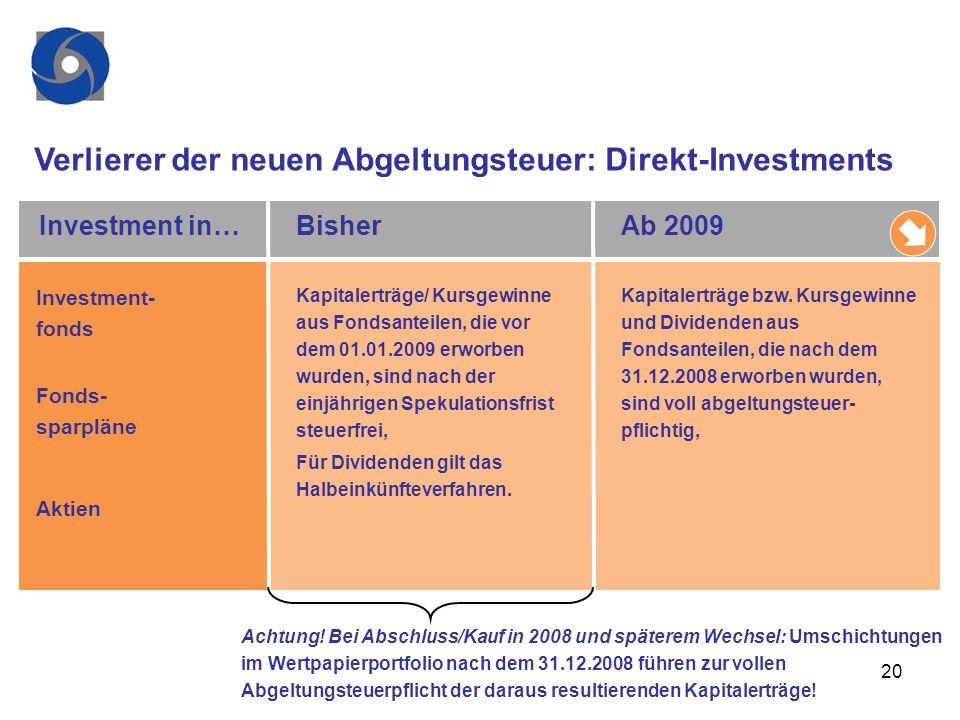 Verlierer der neuen Abgeltungsteuer: Direkt-Investments