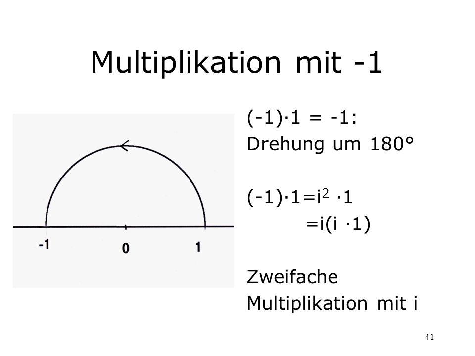 Multiplikation mit -1 (-1)·1 = -1: Drehung um 180° (-1)·1=i2 ·1