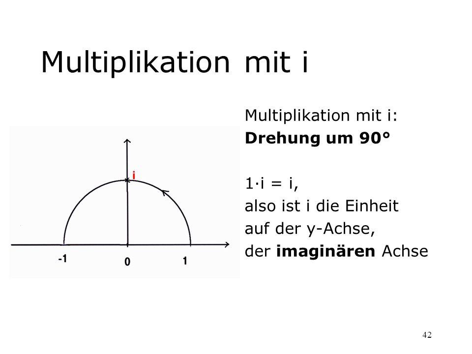 Multiplikation mit i Multiplikation mit i: Drehung um 90° 1·i = i,