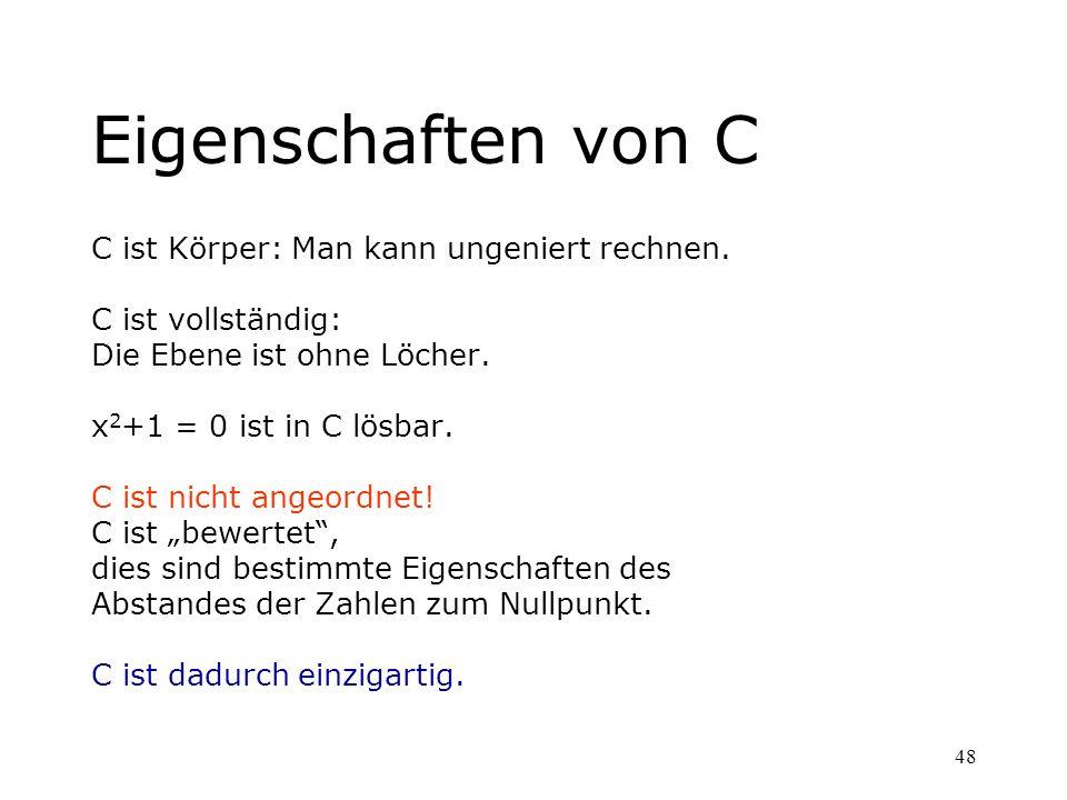 Eigenschaften von C C ist Körper: Man kann ungeniert rechnen.