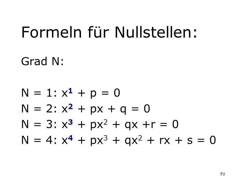 Formeln für Nullstellen: