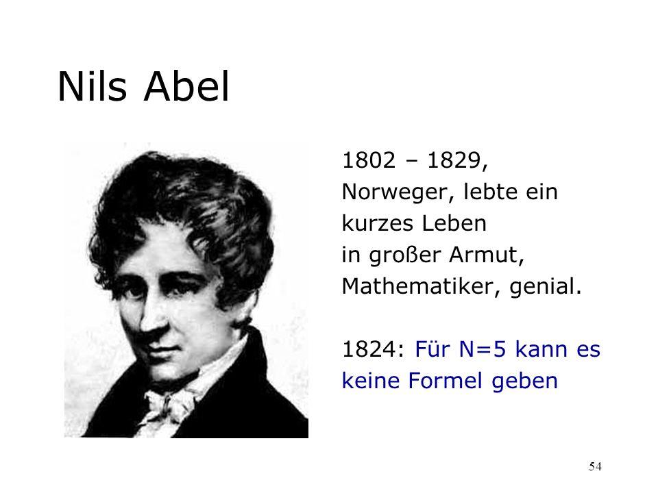 Nils Abel 1802 – 1829, Norweger, lebte ein kurzes Leben