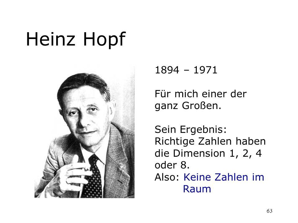 Heinz Hopf 1894 – 1971 Für mich einer der ganz Großen. Sein Ergebnis: