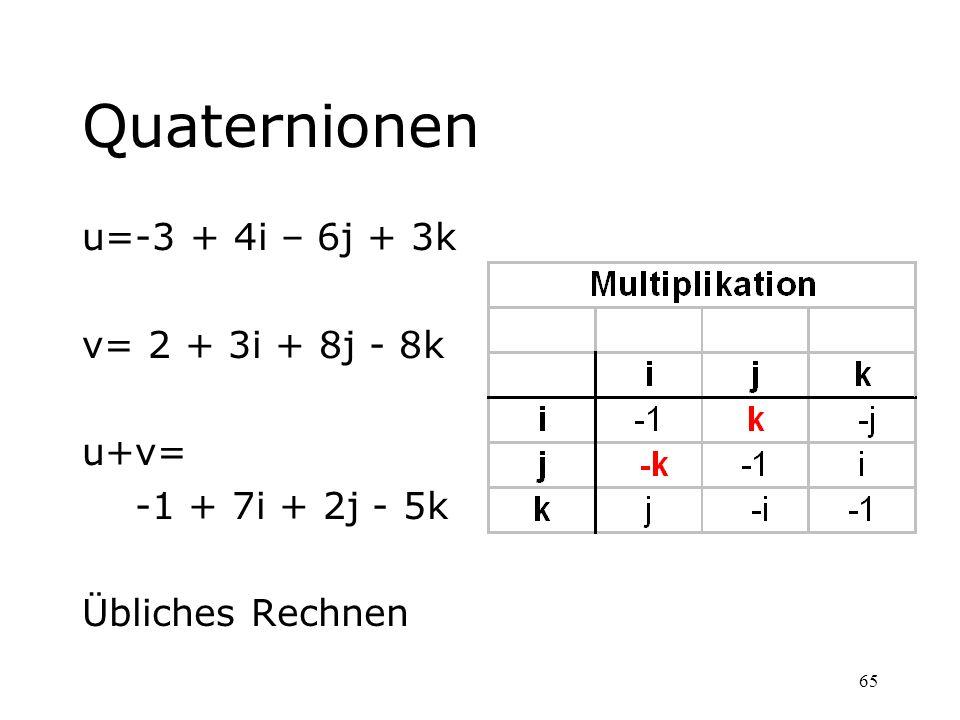 Quaternionen u=-3 + 4i – 6j + 3k v= 2 + 3i + 8j - 8k u+v=