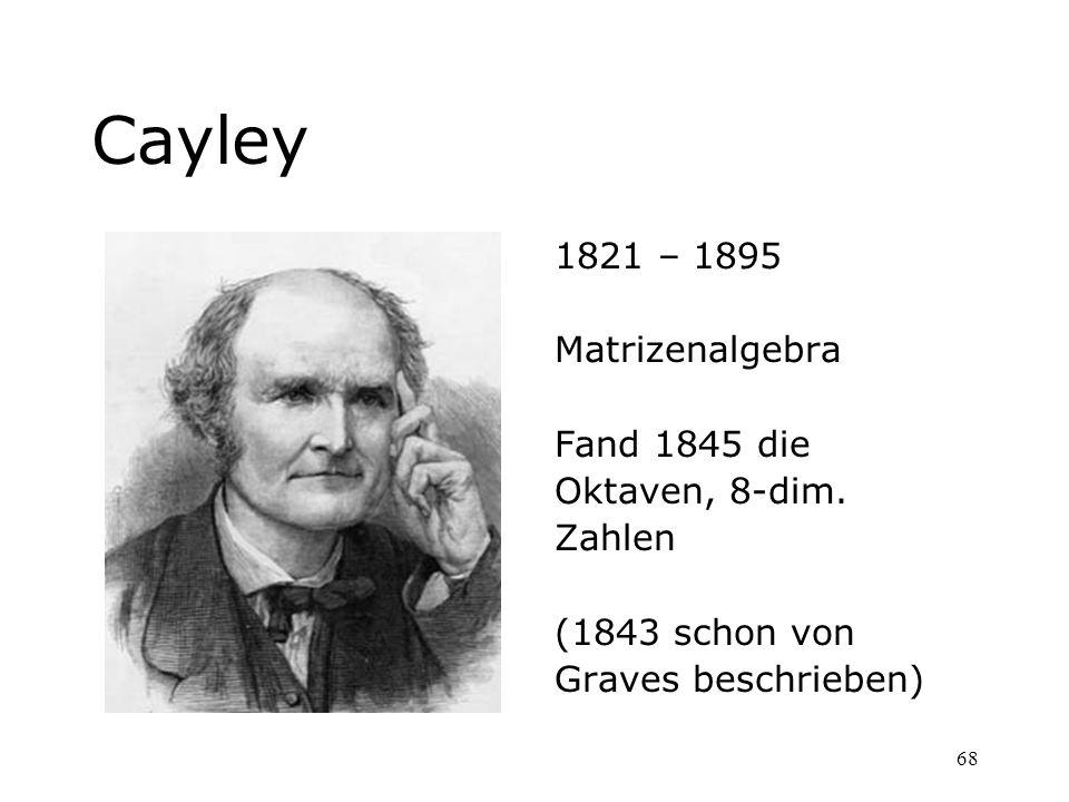 Cayley 1821 – 1895 Matrizenalgebra Fand 1845 die Oktaven, 8-dim.