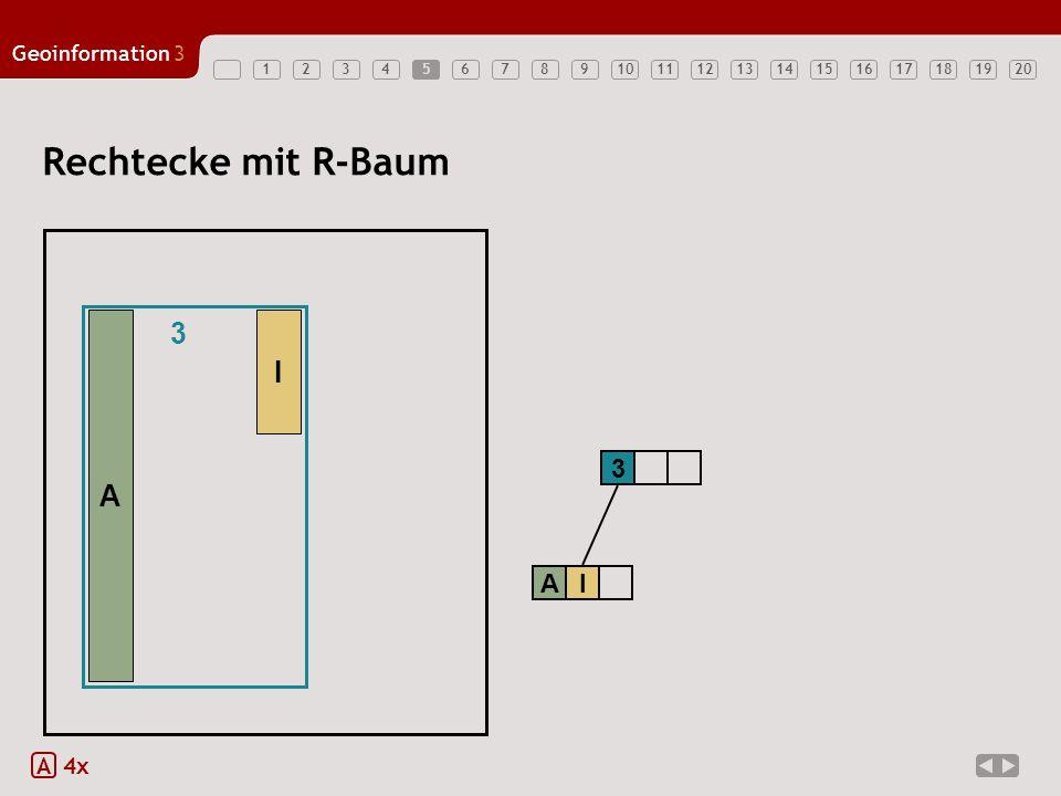 5 Rechtecke mit R-Baum 3 A I 3 A I A 4x