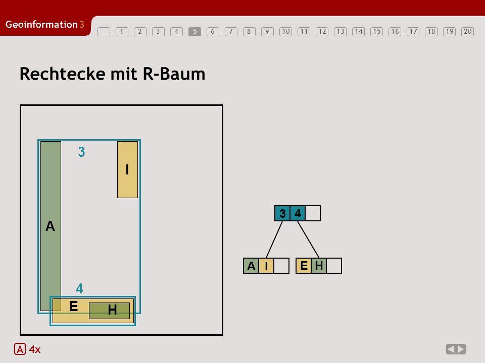 5 Rechtecke mit R-Baum 3 A I E H 4 3 A I A 4x