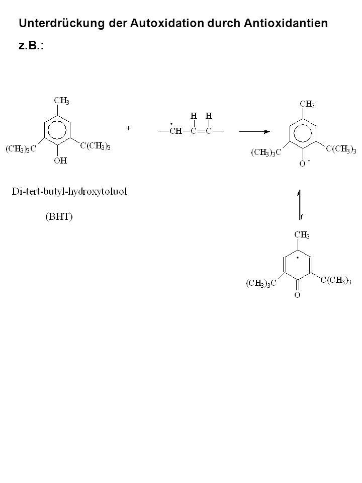 Unterdrückung der Autoxidation durch Antioxidantien