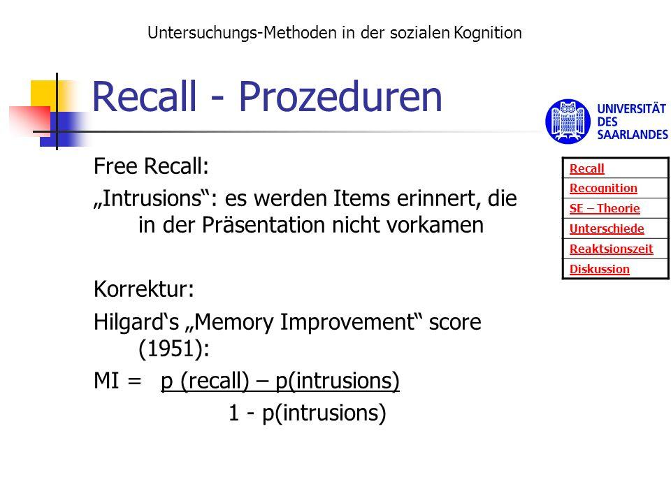 Recall - Prozeduren Free Recall: