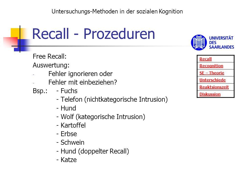 Recall - Prozeduren Free Recall: Auswertung: Fehler ignorieren oder