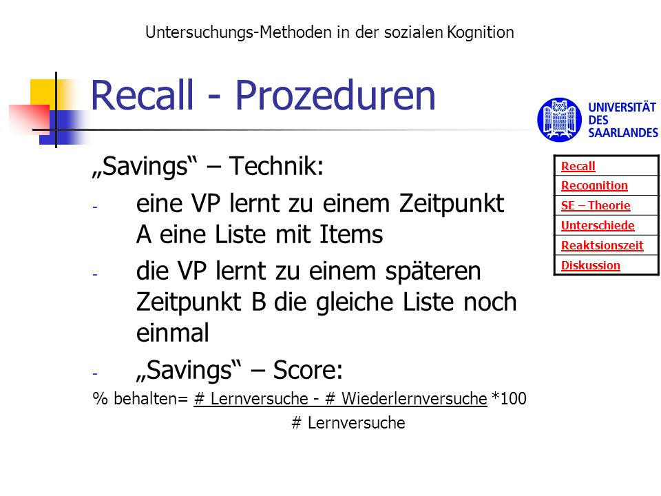 "Recall - Prozeduren ""Savings – Technik:"