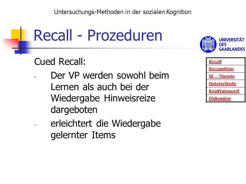 Recall - Prozeduren Cued Recall: