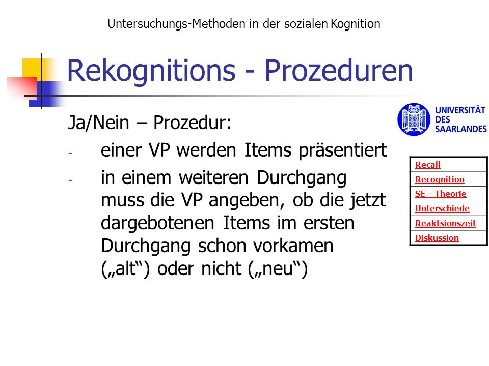 Rekognitions - Prozeduren