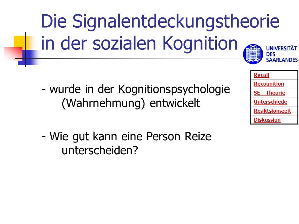 Die Signalentdeckungstheorie in der sozialen Kognition