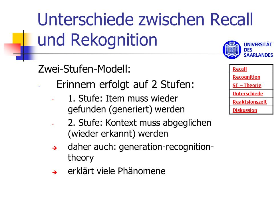 Unterschiede zwischen Recall und Rekognition