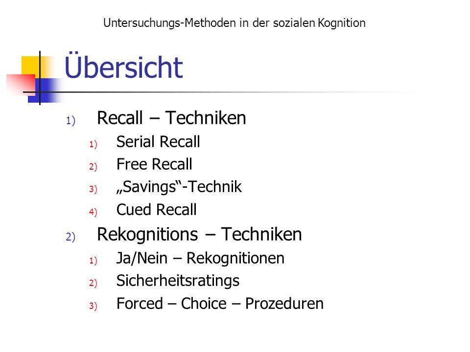 Übersicht Recall – Techniken Rekognitions – Techniken Serial Recall