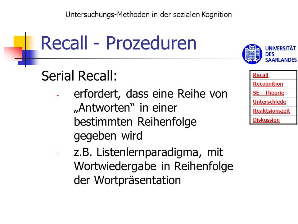 Recall - Prozeduren Serial Recall: