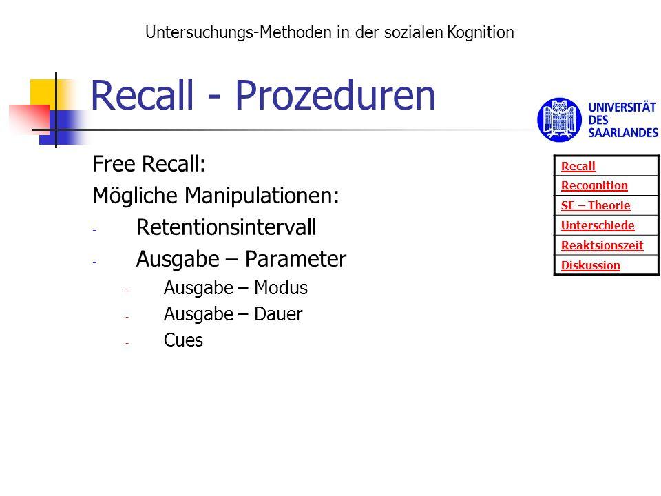 Recall - Prozeduren Free Recall: Mögliche Manipulationen: