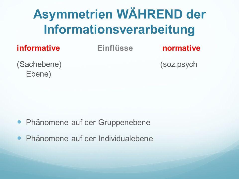 Asymmetrien WÄHREND der Informationsverarbeitung
