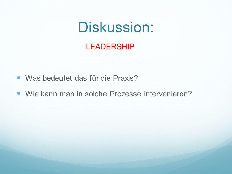 Diskussion: LEADERSHIP Was bedeutet das für die Praxis
