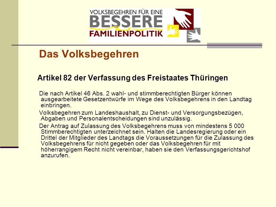Das Volksbegehren Artikel 82 der Verfassung des Freistaates Thüringen.