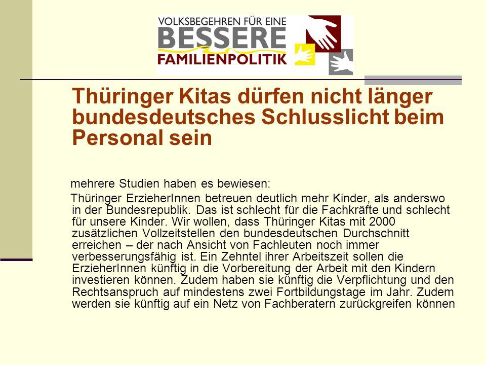 Thüringer Kitas dürfen nicht länger bundesdeutsches Schlusslicht beim Personal sein