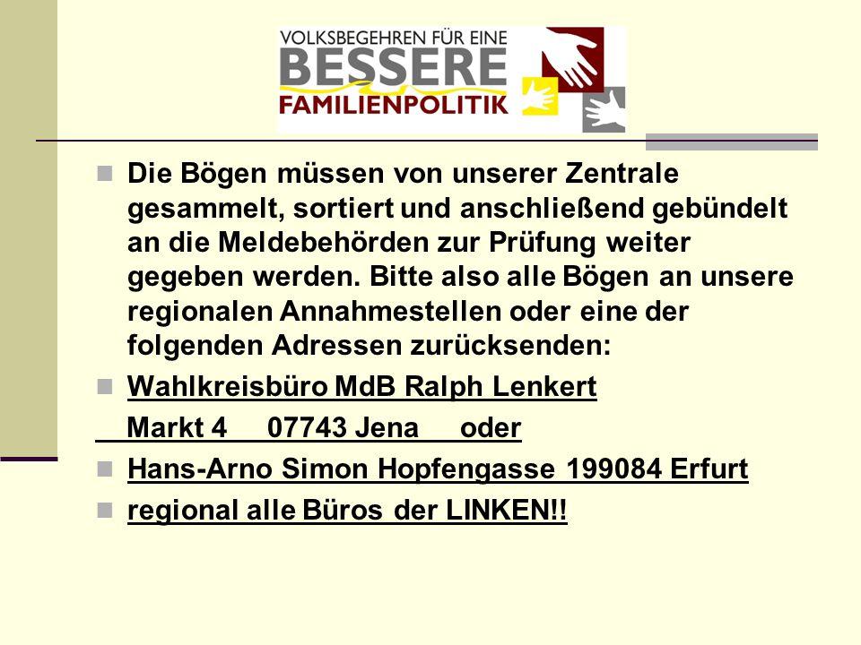 Die Bögen müssen von unserer Zentrale gesammelt, sortiert und anschließend gebündelt an die Meldebehörden zur Prüfung weiter gegeben werden. Bitte also alle Bögen an unsere regionalen Annahmestellen oder eine der folgenden Adressen zurücksenden: